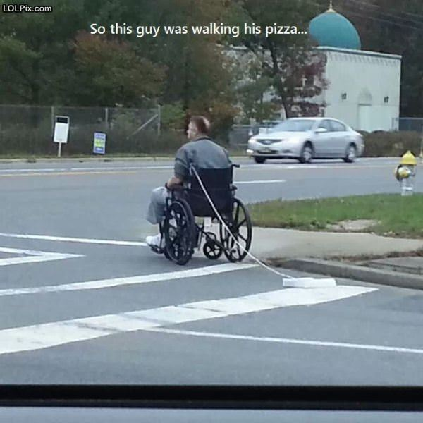Walking His Pizza