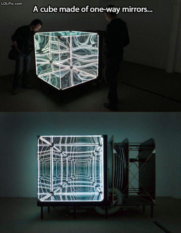 Cube Of One Way Mirrors