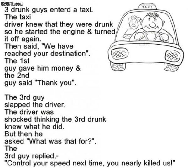 Drunk Guys In A Taxi