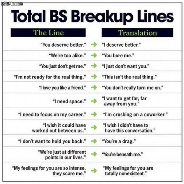 funny break up quotes. funny break up lines.