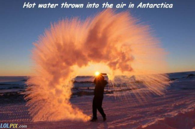 hot water in the air