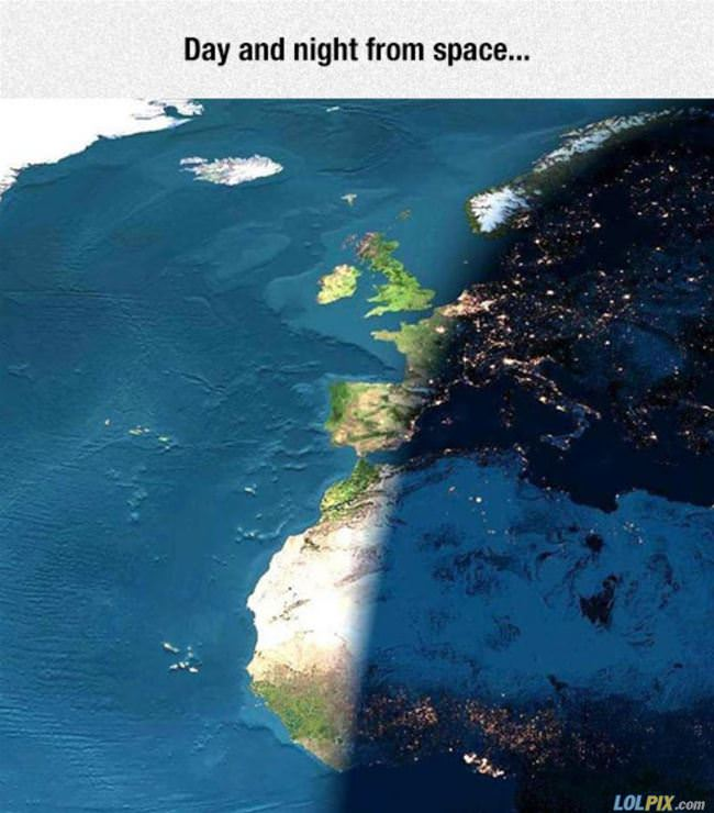 cool day and night from space
