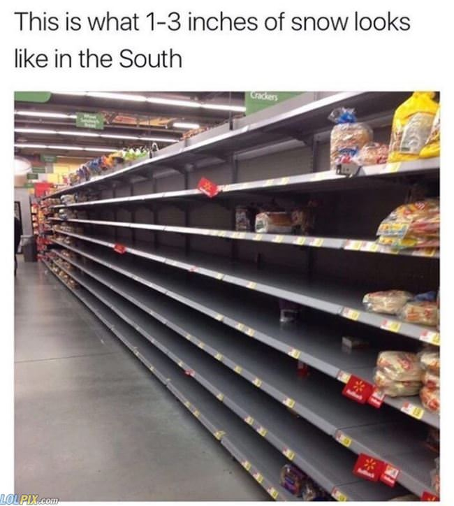 1 to 3 inches of snow in the south