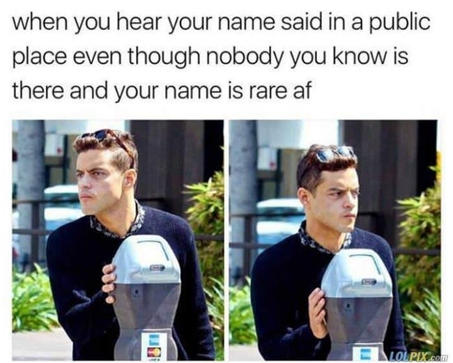 hear your name in public