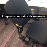 a chair with arm rests