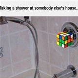 taking a shower at someone elses house