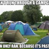 running by tents