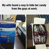 hiding candy at work