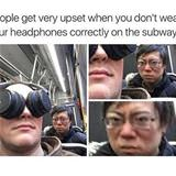 wearing headphones