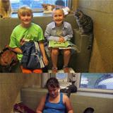 children reading to shelter animals