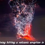 lightning hitting a volcano
