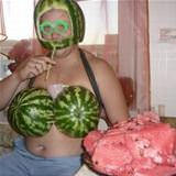 this guy really loves watermelon