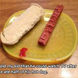please eat half of your hot dog