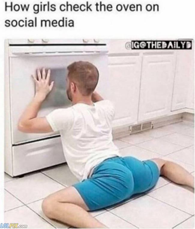 checking the oven
