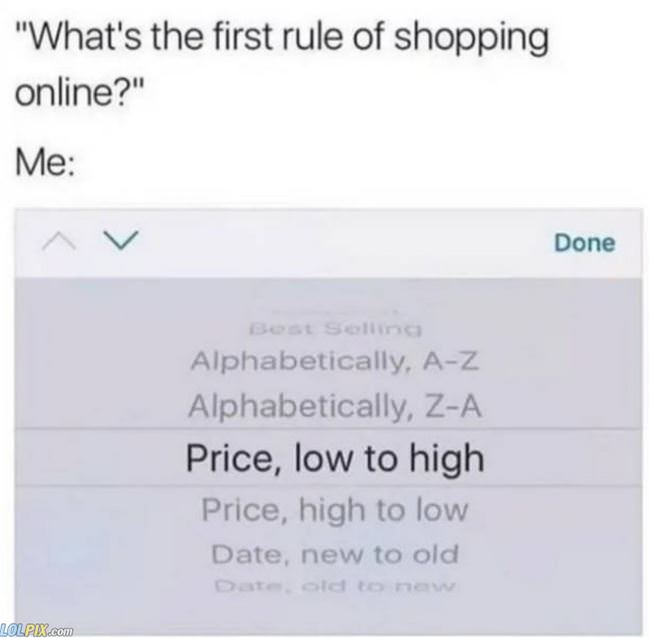 first rule of online shopping