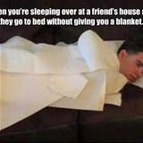 sleeping at a friends house
