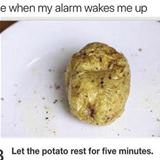 the alarm wakes me up